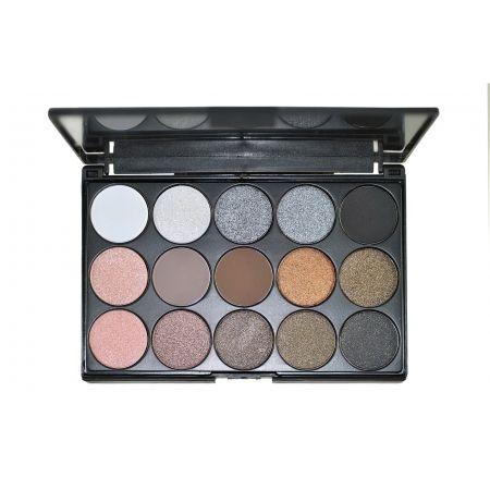 Палитра шимерных теней для повседневного макияжа на 15 цветов